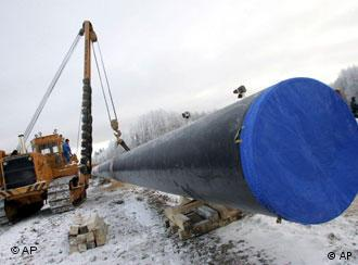 Work is underway at the start of Baltic gas pipeline construction in the Vologda region, 400 km (250 miles) north of Moscow, Friday,