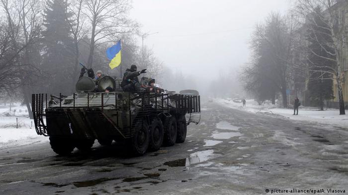 Український танк на одній з вулиць Дебальцевого, 20 січня