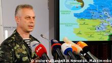 2473682 08/07/2014 Andriy Lysenko, a spokesperson for the Ukrainian Council of National Security and Defense, during a press briefing in Kiev. Alexandr Maksimenko/RIA Novosti