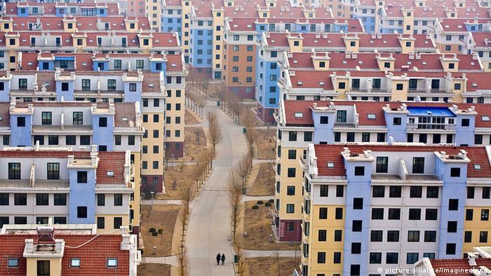 Vista aérea da cidade fantasma chinesa de Rushan