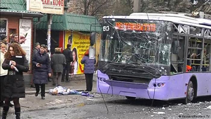 At least nine civilians were killed when a shell hit a trolleybus stop in the rebel-controlled city of Donetsk