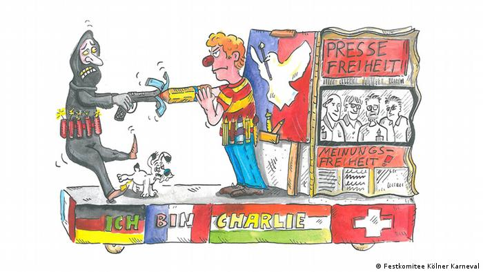 Drawing of suggested Charlie Hebdo float