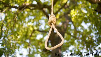 Ein Seil mit Henkersknoten hängt an einem Ast