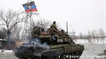 Members of the armed forces of the separatist self-proclaimed Donetsk People's Republic