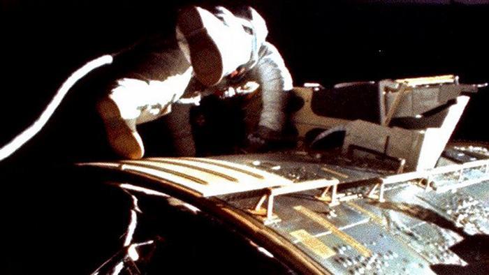NASA Astronaut Al Warden during his deep space extravehicular activities