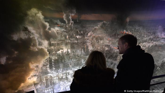 Simulated view of firebombed Dresden as part of the 360-panoramic display at Panometer in Dresden, January 23, 2015, Copyright: Getty Images/Matthias Rietschel