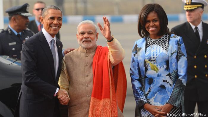 Indien Michelle Obama und Barack Obama Ankunft in Neu Delhi 25.01.2015