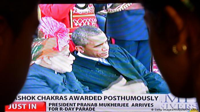 Indien Parade Barack Obama Narendra Modi TV Screen 26.1.