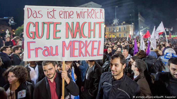 В Афинах празднуют победу СИРИЗА. Надпись на плакате: Это действительно хорошая ночь, госпожа Меркель!