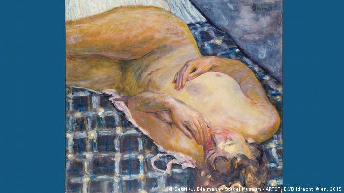 Картина Женщина, лежащая на покрывале в сине-белую клетку