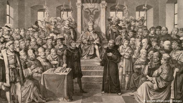 Мартин Лютер перед Вормсским рейхстагом на литографии 1527 года