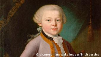 Painting of Mozart as a child smiling.
