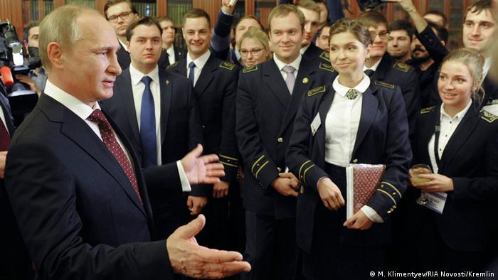Russia President Vladimir Putin meets students in St Petersburg, January 26 2015
