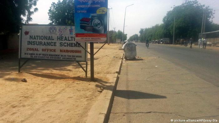 An empty street in Maiduguri Nigeria.