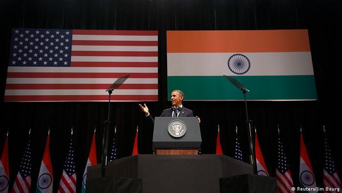 Barack Obama speaking in India
