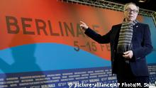 Dieter Kosslick director of the International Film Festival Berlin, poses for the media prior to the annual program press conference in Berlin, Germany, Tuesday, Jan. 27, 2015. The 65. Berlinale will take place in the German capital from Thursday, Feb. 5, until Sunday, Feb. 15, 2015.(AP Photo/Michael Sohn)