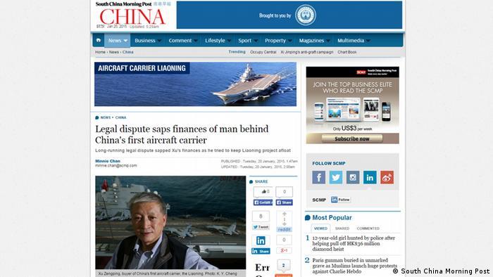 Screenshot: Artikel über Xu Zengpings Kauf des Flugzeugträgers Varyag für China in der South China Morning Post