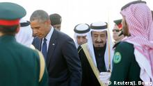U.S. President Barack Obama is greeted by Saudi Arabia's King Salman (R) as he arrives at King Khalid International Airport in Riyadh, January 27, 2015. Obama is stopping in Saudi Arabia on his way back to Washington from India to pay his condolences over the death of King Abdullah and to hold bilateral meetings with King Salman. REUTERS/Jim Bourg (SAUDI ARABIA - Tags: POLITICS)