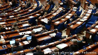 На заседании Парламентской ассамблеи Совета Европы (ПАСЕ) в Страсбурге (фото из архива)