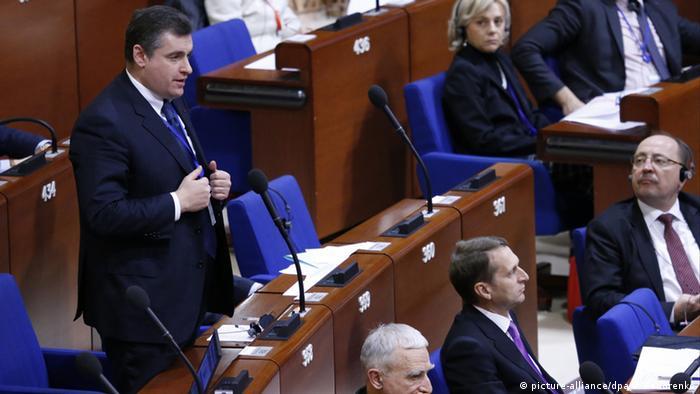 Заместитель главы делегации РФ Леонид Слуцкий на сессии ПАСЕ в Страсбурге