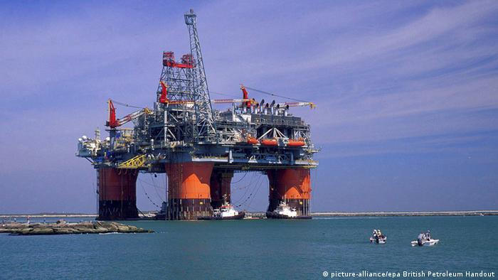Giant oil platform rises from the sea