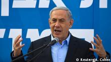 Israel's Prime Minister Benjamin Netanyahu speaks during a cornerstone laying ceremony for a new neighbourhood in the southern town of Sderot January 28, 2015. REUTERS/Amir Cohen (ISRAEL - Tags: POLITICS)