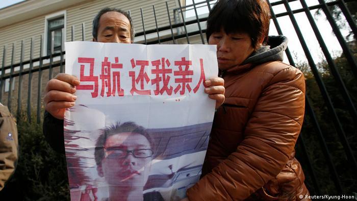 Protest von Angehörigen der Passagiere Flug MH370 in Peking 29.01.2015