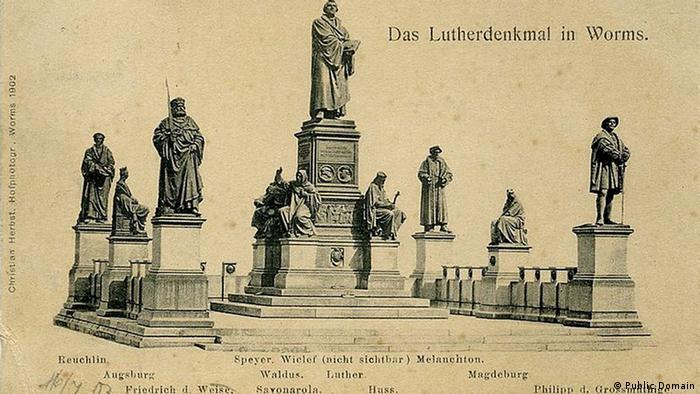 Монумент Лютера на почтовой открытке 1903 года
