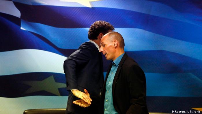 Από κοινή συνέντευξη τύπου των Γερούν Ντάισελμπλουμ και Γιάνη Βαρουφάκη το 2015 στην Αθήνα