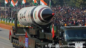 A missile is displayed during India's 2013 Republic Day celebration
