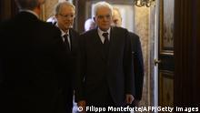 Newly elected President of Italy, Sicilian judge Sergio Mattarella arrives at the Constitutional Council in Rome, on January 31, 2015. Renzi's backing for Mattarella has been interpreted as the end of a temporary alliance the premier forged with disgraced former prime minister Silvio Berlusconi to help drive labour market and electoral reforms through parliament. Mattarella is seen as an anti-Berlusconi figure, having severed his ties with the centre right in Italian politics partly because of his distaste for the media tycoon, who still heads the opposition Forza Italia party despite a tax fraud conviction. AFP PHOTO / FILIPPO MONTEFORTE (Photo credit should read FILIPPO MONTEFORTE/AFP/Getty Images)