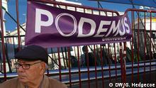 People take part in a rally called by Podemos (We Can), at Madrid's Puerta del Sol landmark January 31, 2015. Tens of thousands marched in Madrid on Saturday in the biggest show of support yet for anti-austerity party Podemos, whose surging popularity and policies have drawn comparisons with Greece's new Syriza rulers. Copyright: DW/G. Hedgecoe via Martin Kübler, DW