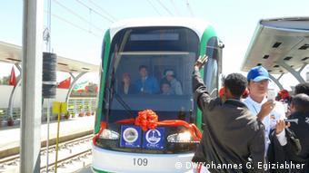 Äthiopien Stadtbahn Probefahrt in Addis Abeba