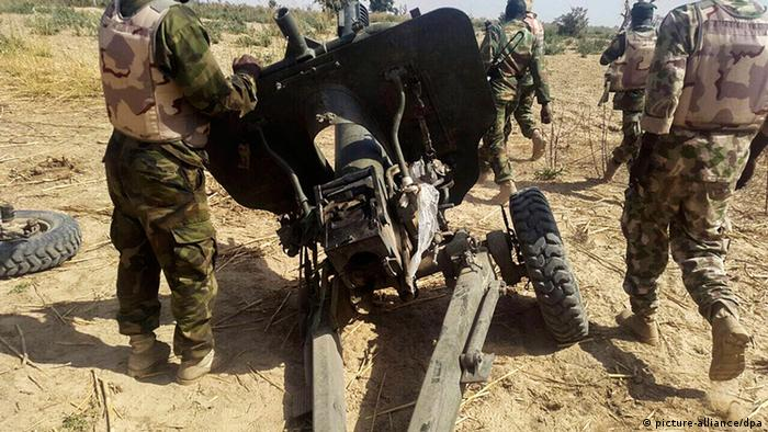 A piece of field artillery used by Boko Haram militants captured by the Nigerian military in Maiduguri, Borno State, North East Nigeria, 27 January 2015