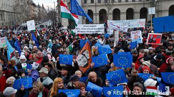 Protestors in Budapest