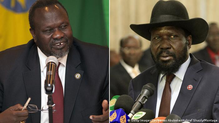 Former deputy Riek Machar (left) and President Salva Kiir of South Sudan (Getty Images/Zacharias Abubeker/Ashraf Shazly/Montage)