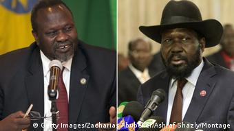 President Salva Kiir together with rebel leader Riek Machar