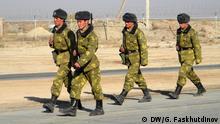 Tadschikische Grenzsoldaten - Thema Tadschikistan: Unruhige Lage an der Grenze zu Afghanistan *** DW, Galim Faskhutdinov, DW-Korrespondent in Duschanbe, Tadschikistan, Januar 2015