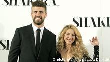 FILE - Colombiana singer Shakira poses for the media with his boyfriend Gerard Pique during the presentation of her last album 'Shakira' in Barcelona, northeastern Spain, 20 March 2014. EPA/ANDREU DALMAU (zu dpa Shakira und Piqué machen Baby-Geschenkparty für guten Zweck vom 20.01.2015) +++(c) dpa - Bildfunk+++