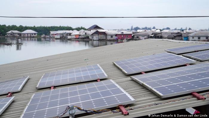 Solar panels on top of a roof