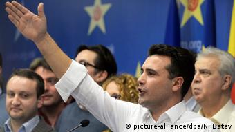 Zoran Zaev, gesturing at a January 31 press conference this year.