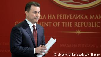 Prime Minister Gruevski, pictured at the press conference where he commented on the charges against Zaev.