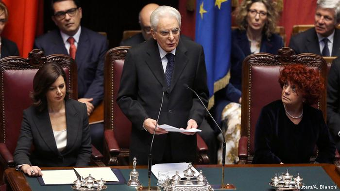 Italy's new President Sergio Mattarella (C) speaks, flanked by lower house President Laura Boldrini (L) and Senate vice president Valeria Fedeli, at the lower house of parliament in Rome, February 3, 2015.