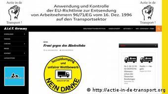 Screenshot http://actie-in-de-transport.org