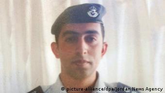 A photograph of Jordanian pilot Muath al-Kaseasbeh