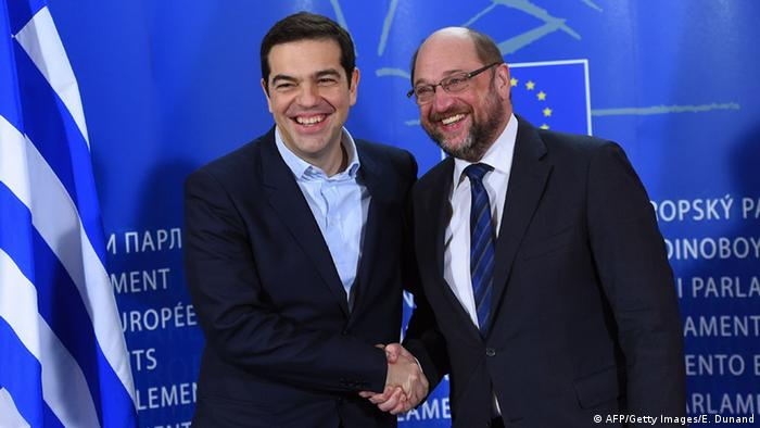 Alexis Tsipras mit Martin Schulz in Brüssel (Foto: AFP/Getty Images)