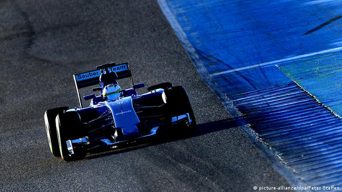 Sauber car during a test drive in Spain