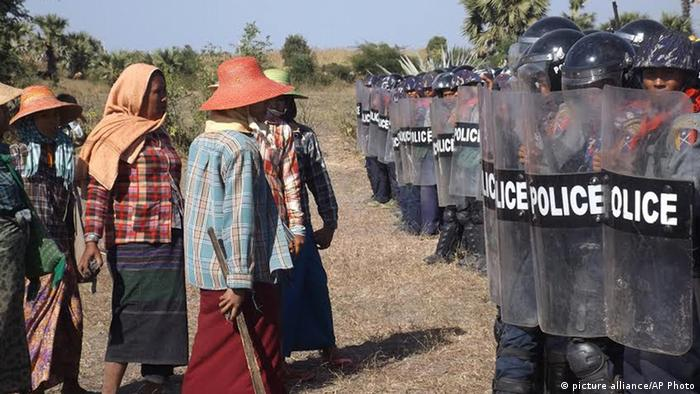 Auseinandersetzung bei einer Kupfermine Monywa Myanmar Archiv Dezember 2014