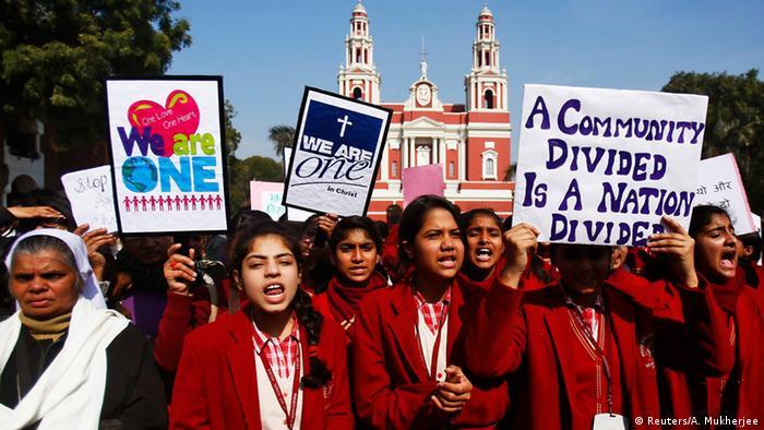 Neu Delhi Proteste von Christen
