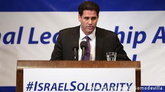 Israel's ambassador to the US Ron Dermer speaks to American Jewish leaders in Washington.